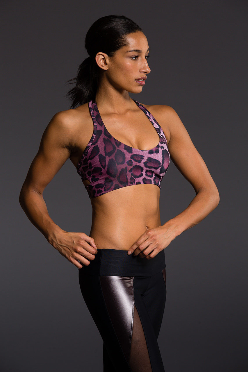 aab18a2fb3 Onzie Purple Cheetah Wrap Bra